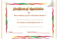 Certificate Of Appreciation For Outstanding Teaching with regard to Teacher Appreciation Certificate Templates
