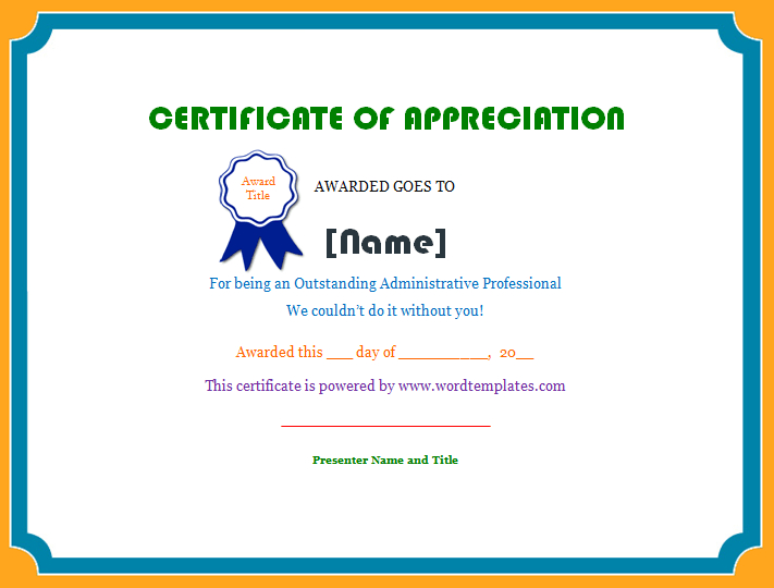 Certificate Of Appreciation | Microsoft Word Templates inside Employee Appreciation Certificate Template