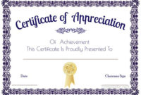 Certificate Of Appreciation Template, Certificate Of for Downloadable Certificate Of Recognition Templates