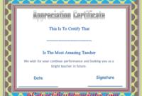 Certificate Of Appreciation Template For Amazing Teacher inside Unique Teacher Appreciation Certificate Templates