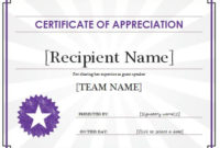 Certificate Of Appreciation Template | Free Sample Templates pertaining to Unique Certificate Of Appreciation Template Word