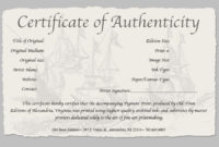 Certificate Of Authenticity Of A Fine Art Print In 2020 with regard to Authenticity Certificate Templates Free
