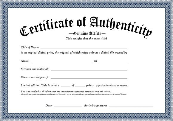 Certificate Of Authenticity Of An Original Digital Print regarding Authenticity Certificate Templates Free