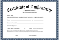 Certificate Of Authenticity Template (1) – Templates Example with Certificate Of Authenticity Free Template