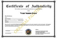 Certificate Of Authenticity Templates – Word Excel Pdf Formats in Certificate Of Authenticity Templates