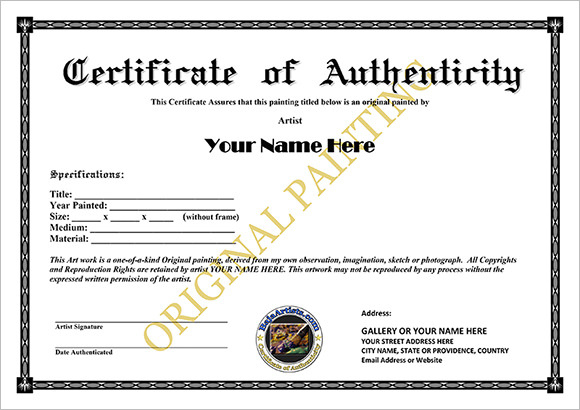 Certificate Of Authenticity Templates - Word Excel Pdf Formats regarding Unique Certificate Of Authenticity Free Template