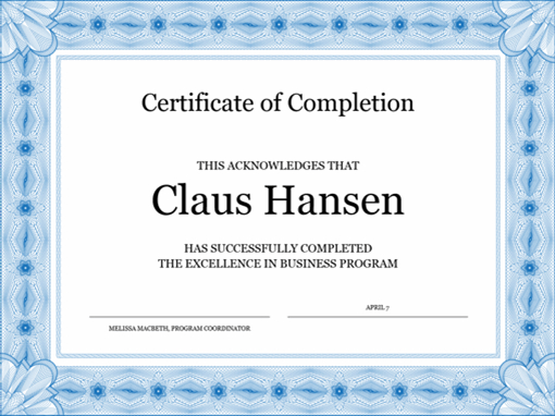 Certificate Of Completion (Blue) with Fresh Completion Certificate Editable