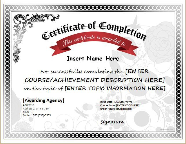 Certificate Of Completion For Ms Word Download At Http://Cer Pertaining To Certificate Of Achievement Template Word