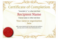 Certificate Of Completion – Free Quality Printable Templates intended for Certificate Of Completion Templates Editable