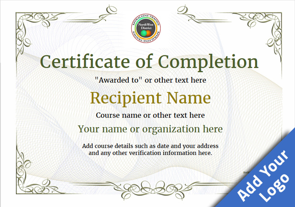 Certificate Of Completion - Free Quality Printable Templates with Certificate Of Completion Templates Editable