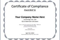 Certificate Of Compliance Template (1) – Templates Example intended for Certificate Of Compliance Template 10 Docs Free