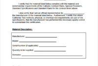 Certificate Of Compliance Template (4) – Templates Example intended for Certificate Of Conformity Templates