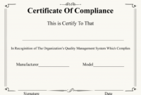 Certificate Of Compliance Template | Certificate Template with regard to Unique Certificate Of Compliance Template