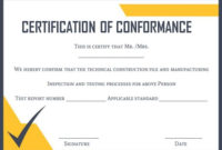 Certificate Of Conformance Template: 10 High Quality Samples intended for Unique Certificate Of Compliance Template