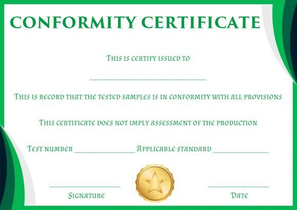 Certificate Of Conformity Sample Template | Free Certificate For Conformity Certificate Template