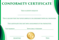 Certificate Of Conformity Sample Template | Free Certificate in Certificate Of Conformity Template Ideas
