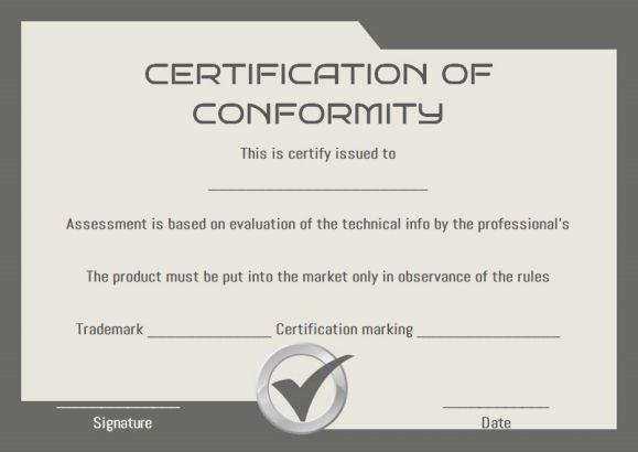 Certificate Of Conformity Sample Templates | Printable for Fresh Certificate Of Conformity Template Ideas
