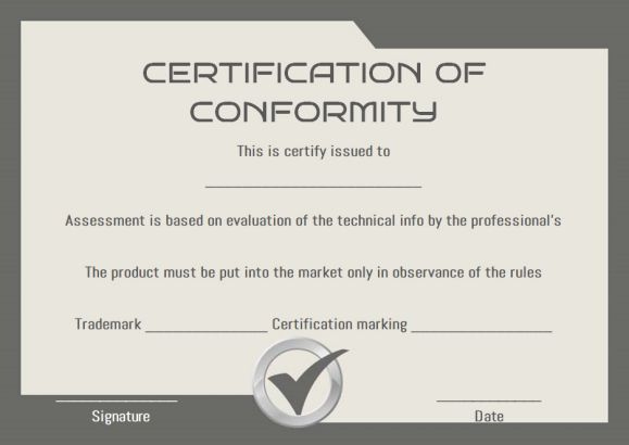 Certificate Of Conformity Sample Templates | Printable with regard to Best Conformity Certificate Template