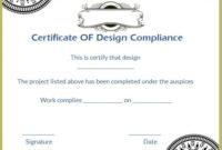 Certificate Of Design Compliance Template | Certificate regarding Certificate Of Conformity Template Ideas