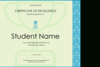 Certificate Of Excellence For Student inside Academic Excellence Certificate