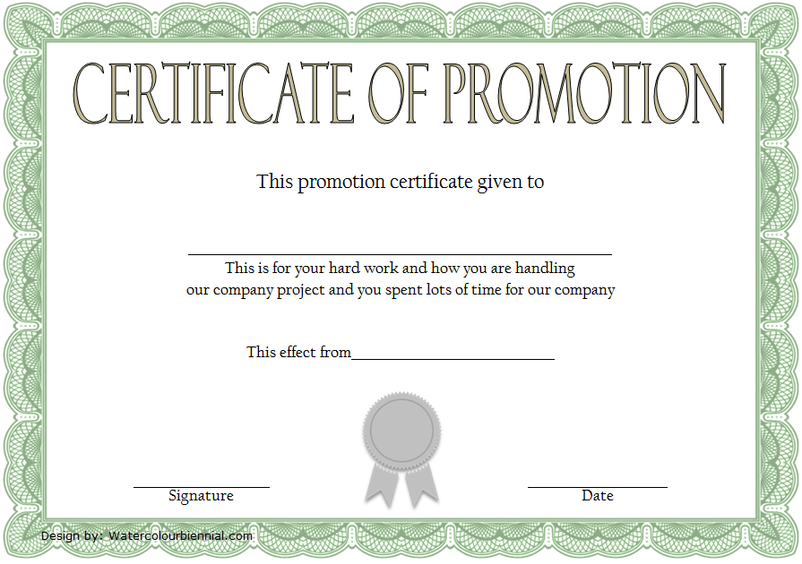 Certificate Of Job Promotion Template Free 1 In 2020 pertaining to Unique Job Promotion Certificate Template Free