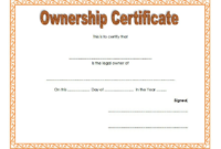 Certificate Of Ownership Llc Free Template 2 In 2020 with Ownership Certificate Templates