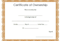 Certificate Of Ownership Template (2) – Templates Example pertaining to Certificate Of Ownership Template