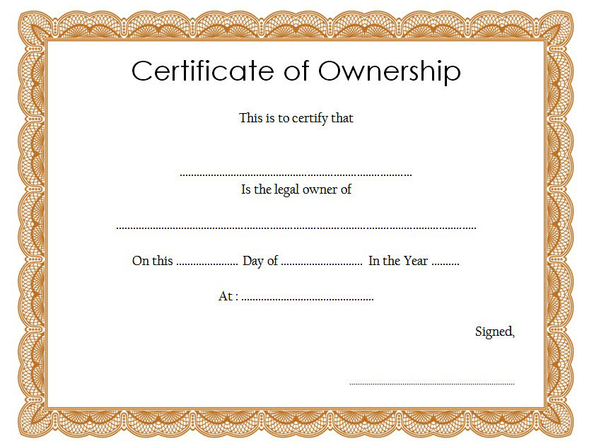 Certificate Of Ownership Template (2) - Templates Example with regard to Download Ownership Certificate Templates Editable