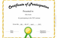 Certificate Of Participation | Certificate Of Participation pertaining to Unique Participation Certificate Templates Free Printable