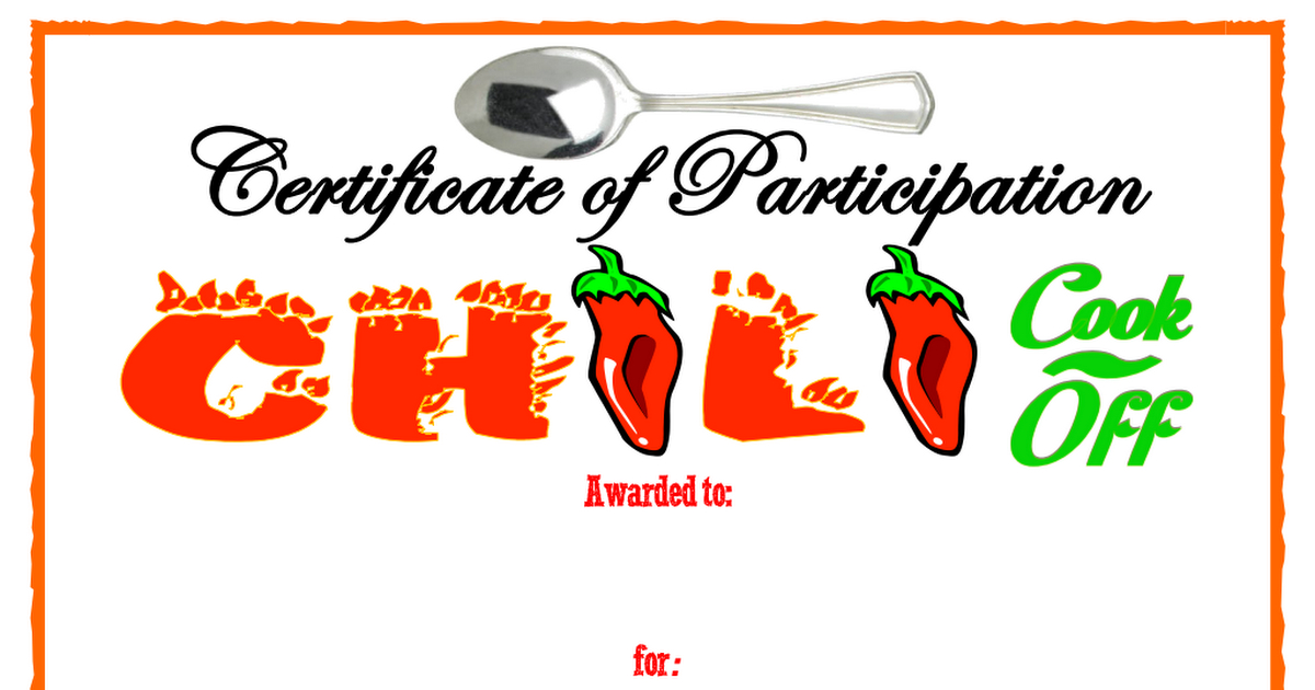 Certificate Of Participation Chili Cookoff.pdf | Chili Cook In Chili Cook Off Certificate Templates