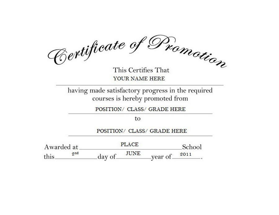 Certificate Of Promotion Free Templates Clip Art & Wording Within School Promotion Certificate Template 10 New Designs Free