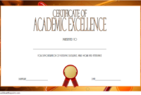 Certificate Of Recognition For Academic Excellence Template with Certificate Of Academic Excellence Award