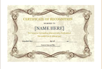 Certificate Of Recognition Template For Word | Document Hub with regard to Unique Recognition Certificate Editable
