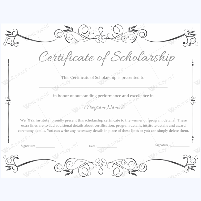 Certificate Of Scholarship 02 - Word Layouts | Awards With Fresh 10 Scholarship Award Certificate Editable Templates