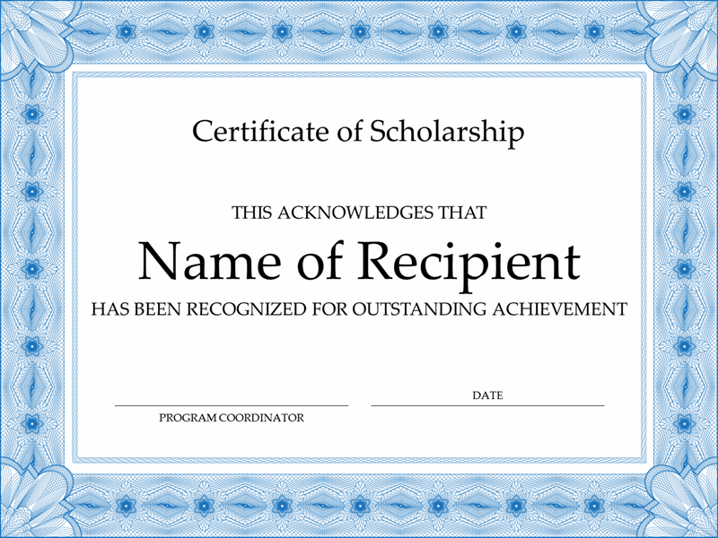 Certificate Of Scholarship (Formal Blue Border) Intended For Scholarship Certificate Template