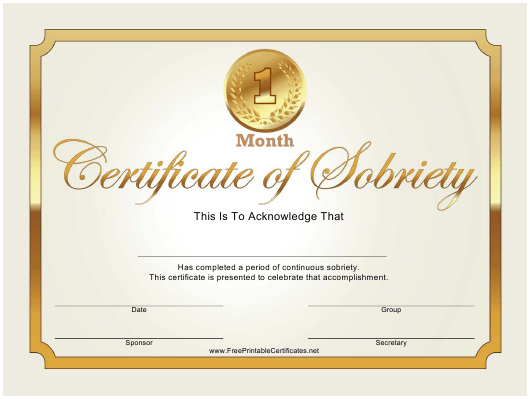 Certificate Of Sobriety Templates Pdf. Download Fill And Within Certificate Of Sobriety Template Free