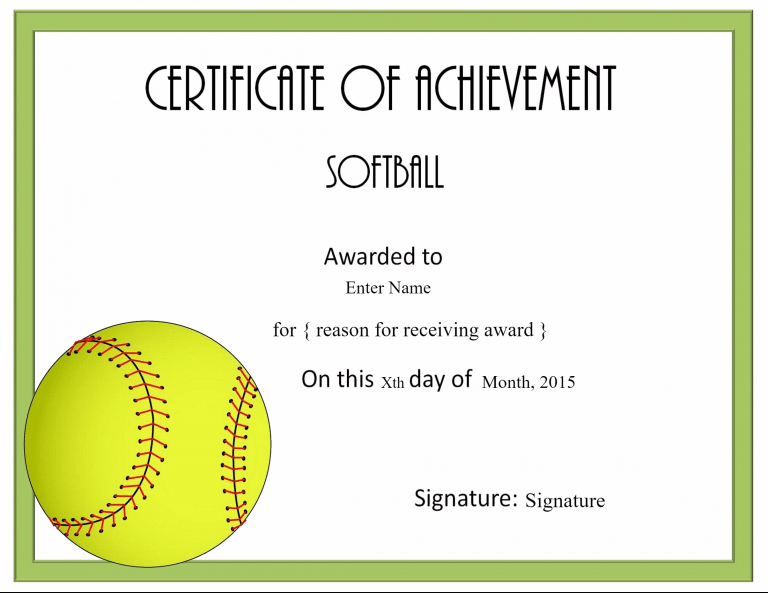 Certificate | Softball Awards, Certificate Templates, Awards inside Fresh Printable Softball Certificate Templates
