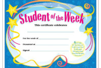 Certificate Student Of The Week. Unique Awards Feature throughout Best Student Of The Week Certificate Templates