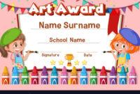 Certificate Template Design For Art Award Vector Image with regard to Best Art Award Certificate Template