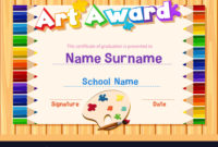 Certificate Template For Art Award With Color Vector Image regarding Art Award Certificate Template