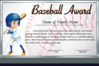 Certificate Template For Baseball Award Royalty Free Vector pertaining to Best Baseball Award Certificate Template
