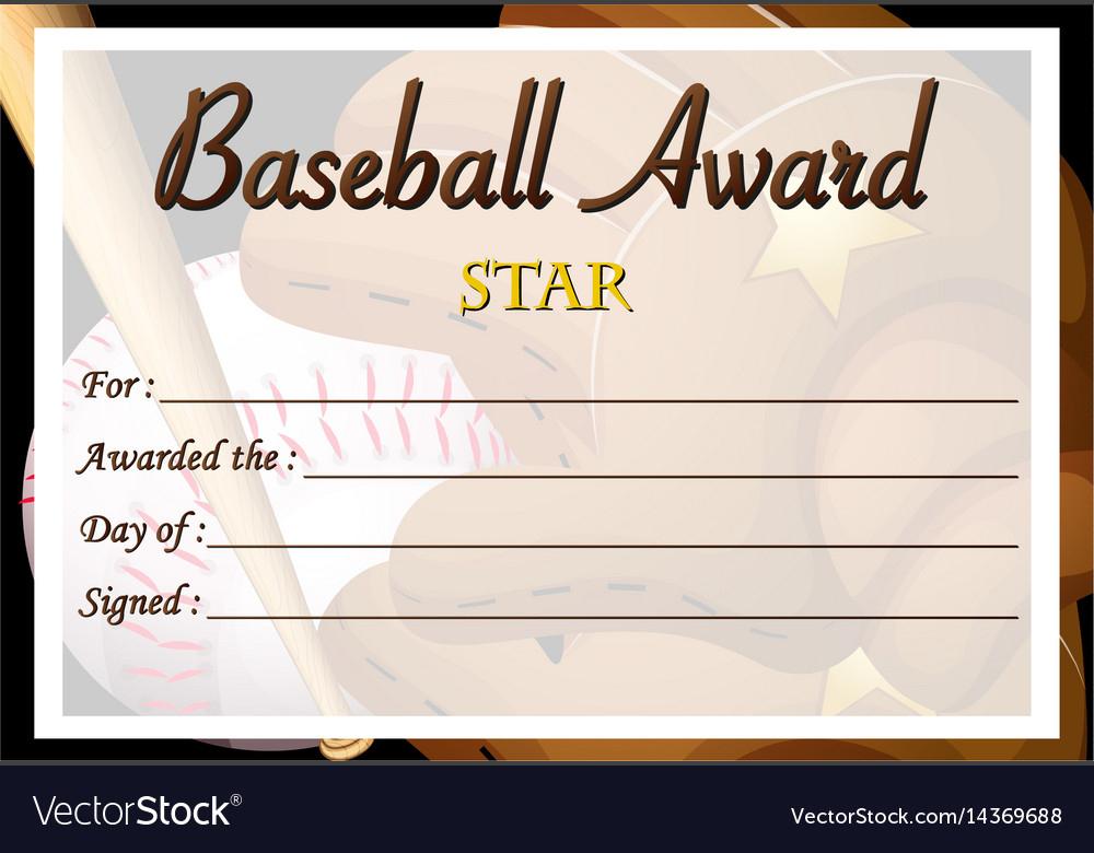 Certificate Template For Baseball Award Royalty Free Vector With Baseball Award Certificate Template
