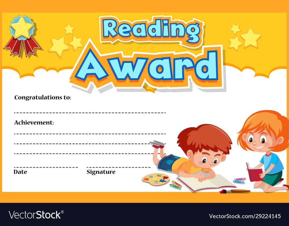 Certificate Template For Reading Award With Kids Vector Image Inside Reading Achievement Certificate Templates