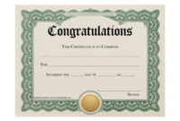 Certificate Templates Stunning Certificate And Award intended for Best Congratulations Certificate Template 10 Awards