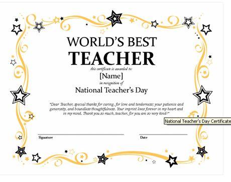 Certificates For Teachers: The World'S Best Teacher Award with regard to Fresh Best Teacher Certificate Templates