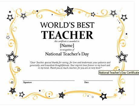 Certificates For Teachers: The World'S Best Teacher Award with Unique Best Teacher Certificate