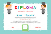 Certificates Kindergarten And Elementary, Preschool Kids throughout Kindergarten Diploma Certificate Templates 10 Designs Free