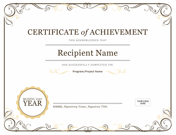 Certificates - Office intended for Certificate Of Achievement Template Word