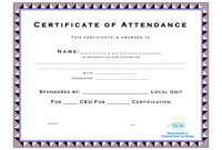 Ceu Certificate Of Completion Template Attendance Templates for Unique Ceu Certificate Template