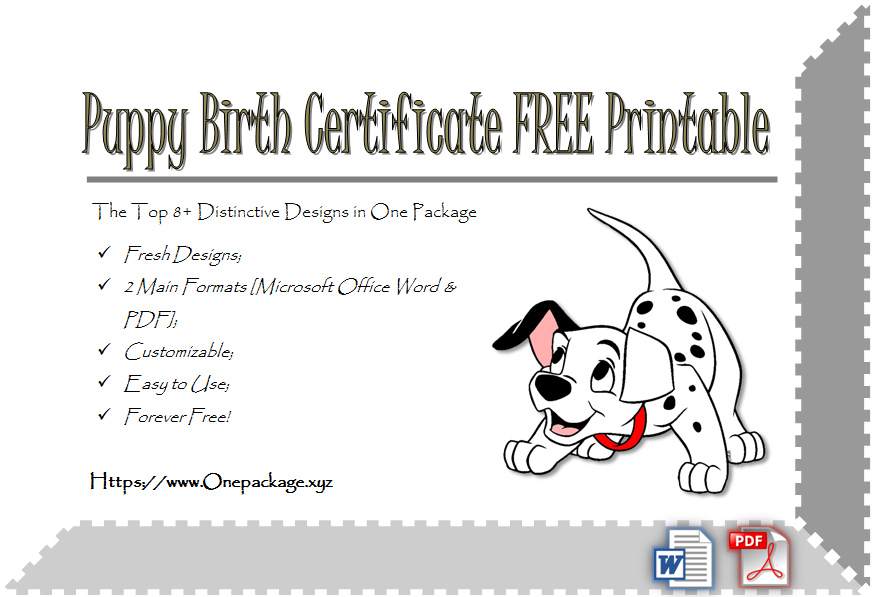 Check And Save The 8+ Distinctive Template Ideas Of Puppy With Unique Puppy Birth Certificate Free Printable 8 Ideas